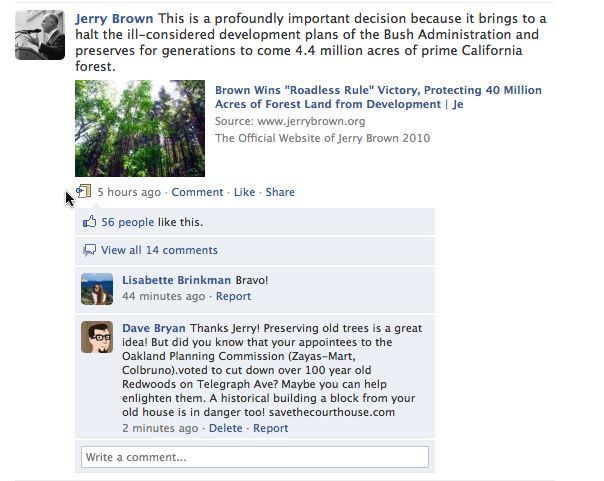 Jerry Brown's Facebook Fan Page